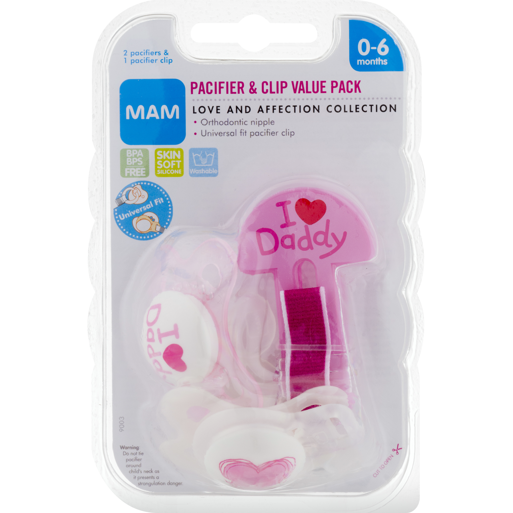 Clothing clip pacifier. Mam love affection colors