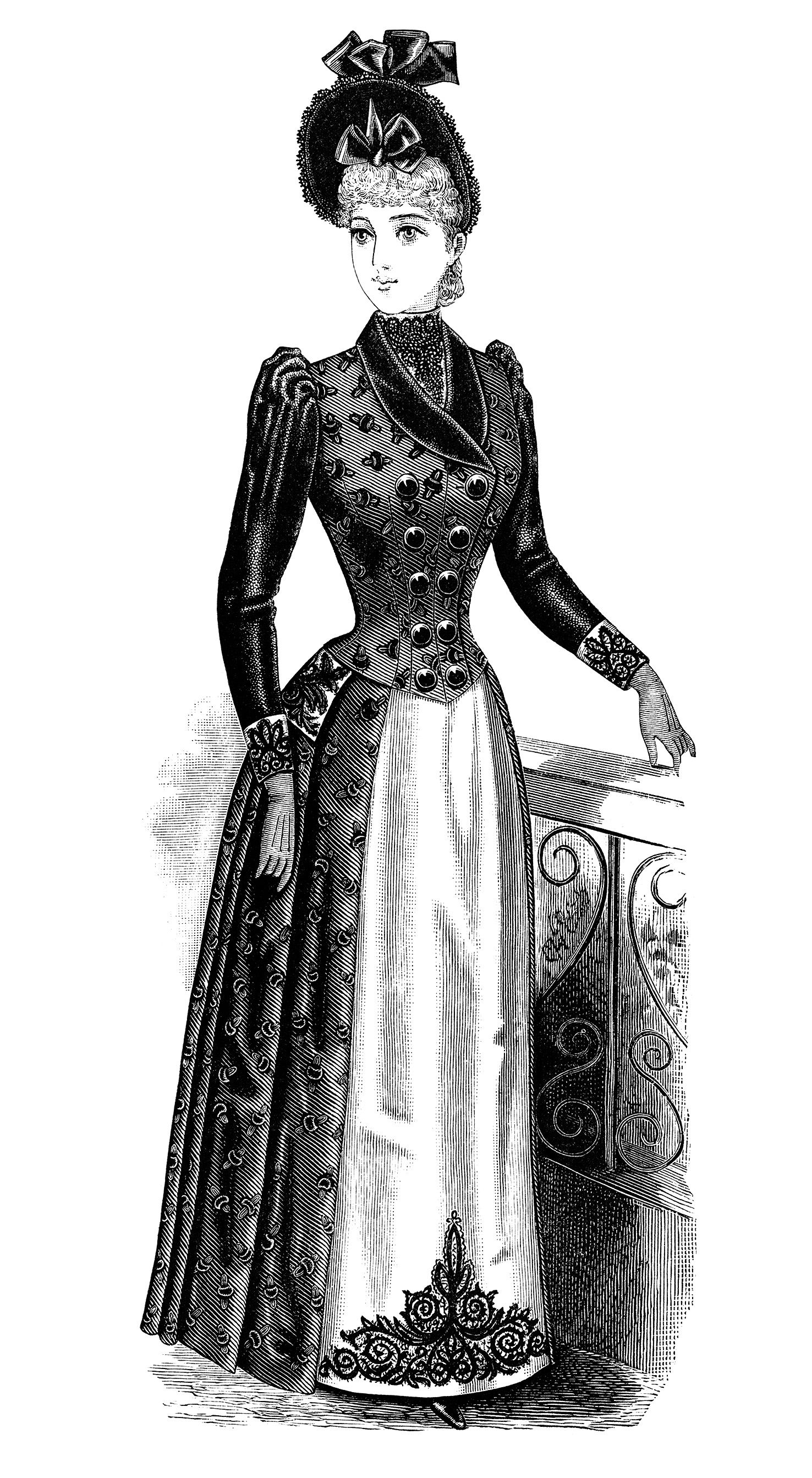 Clothing clipart women's clothing. Victorian lady black and