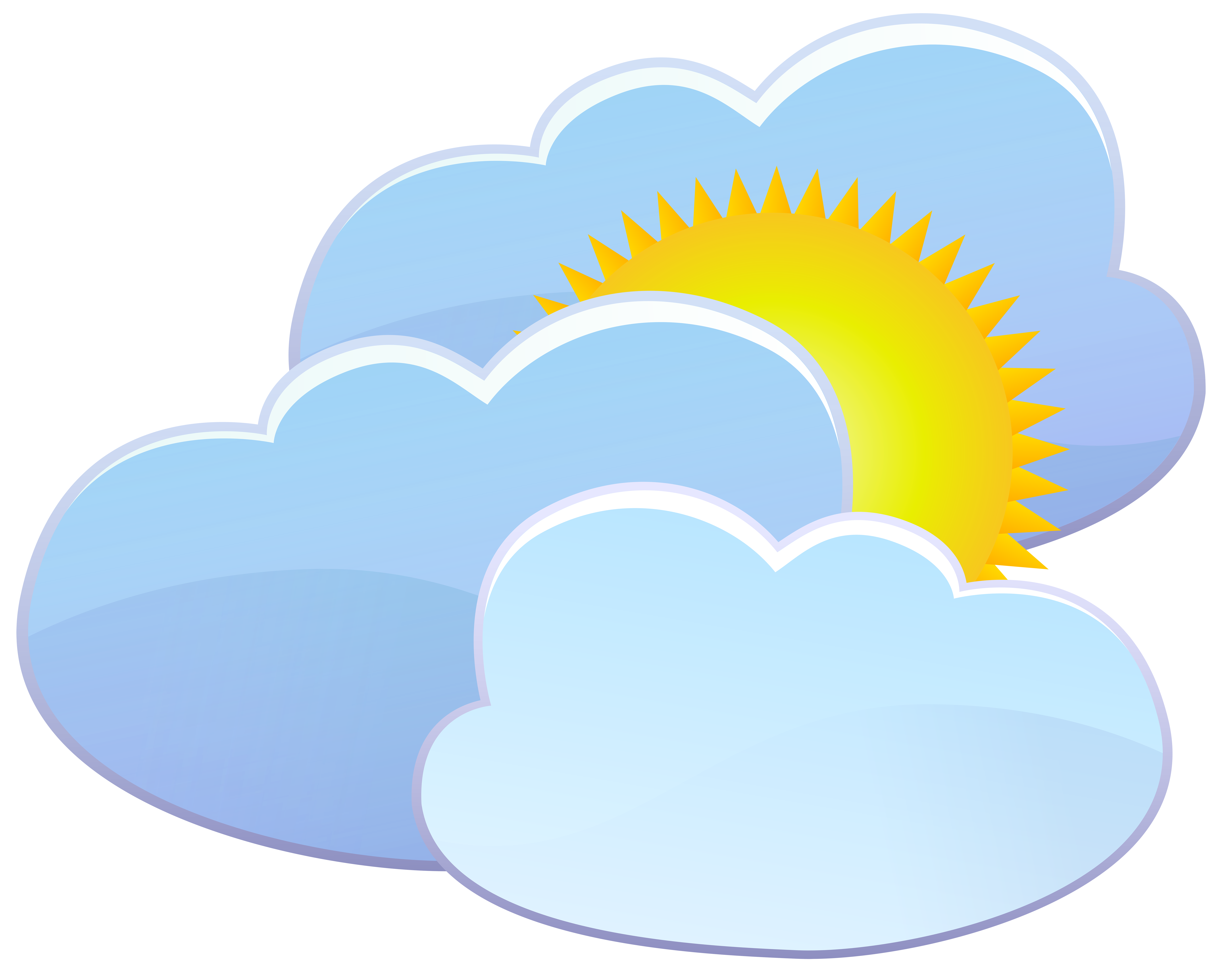 Sun and clouds png. Three weather icon clip