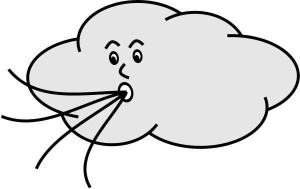 Vector wind black and white. Free cloud clipart download