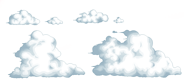 Pixel clouds png. Art by lucijankamikaza on