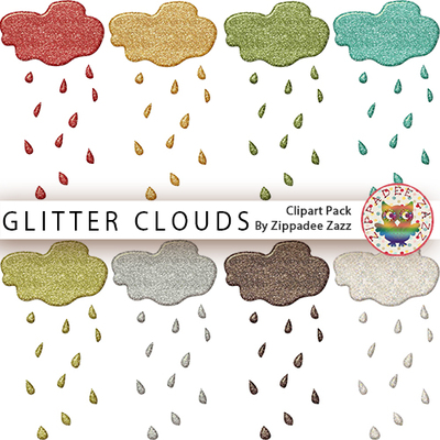 Clouds clipart glitter. April showers rainy day