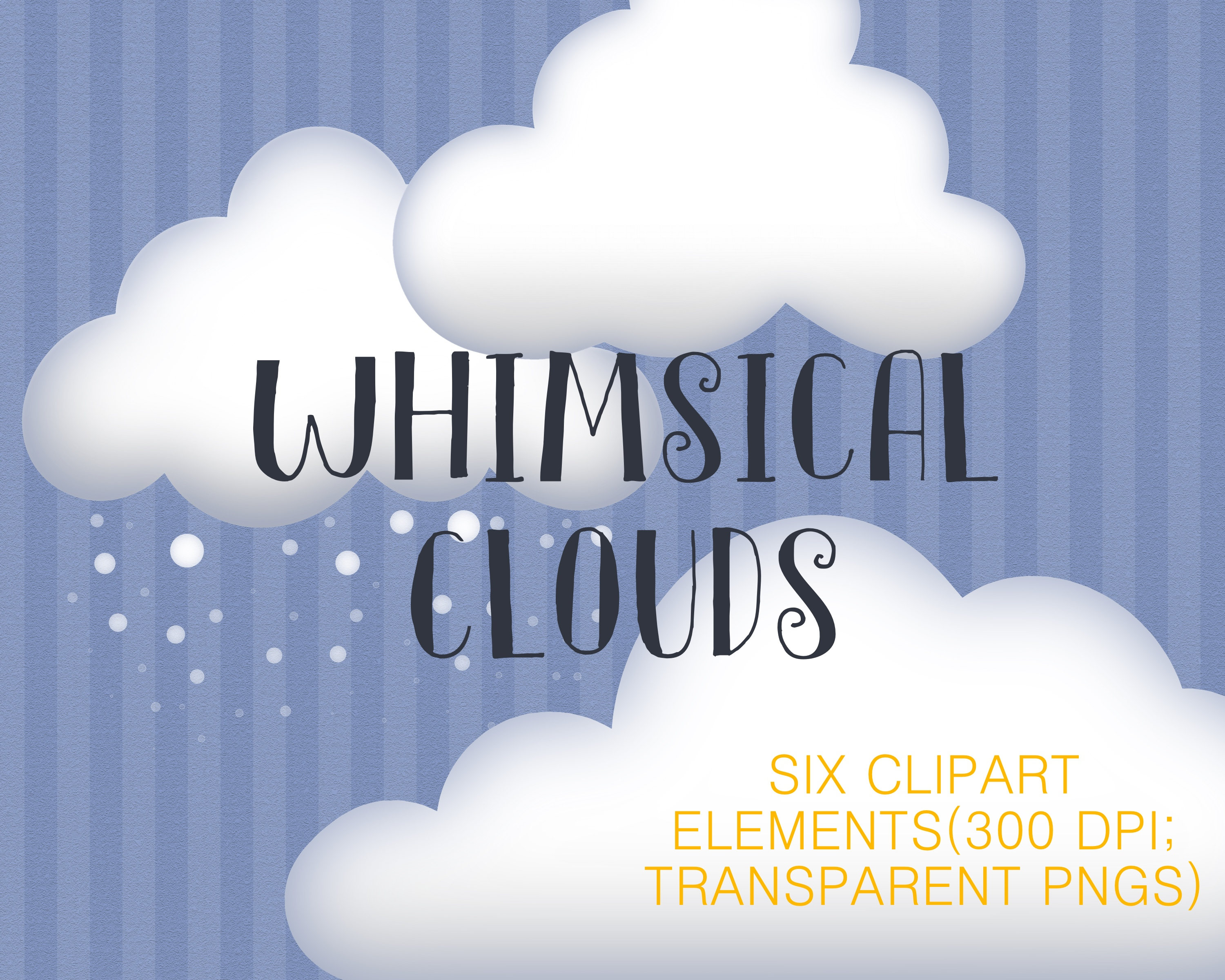 Clouds clipart logo. Snow rain whimsical stylized