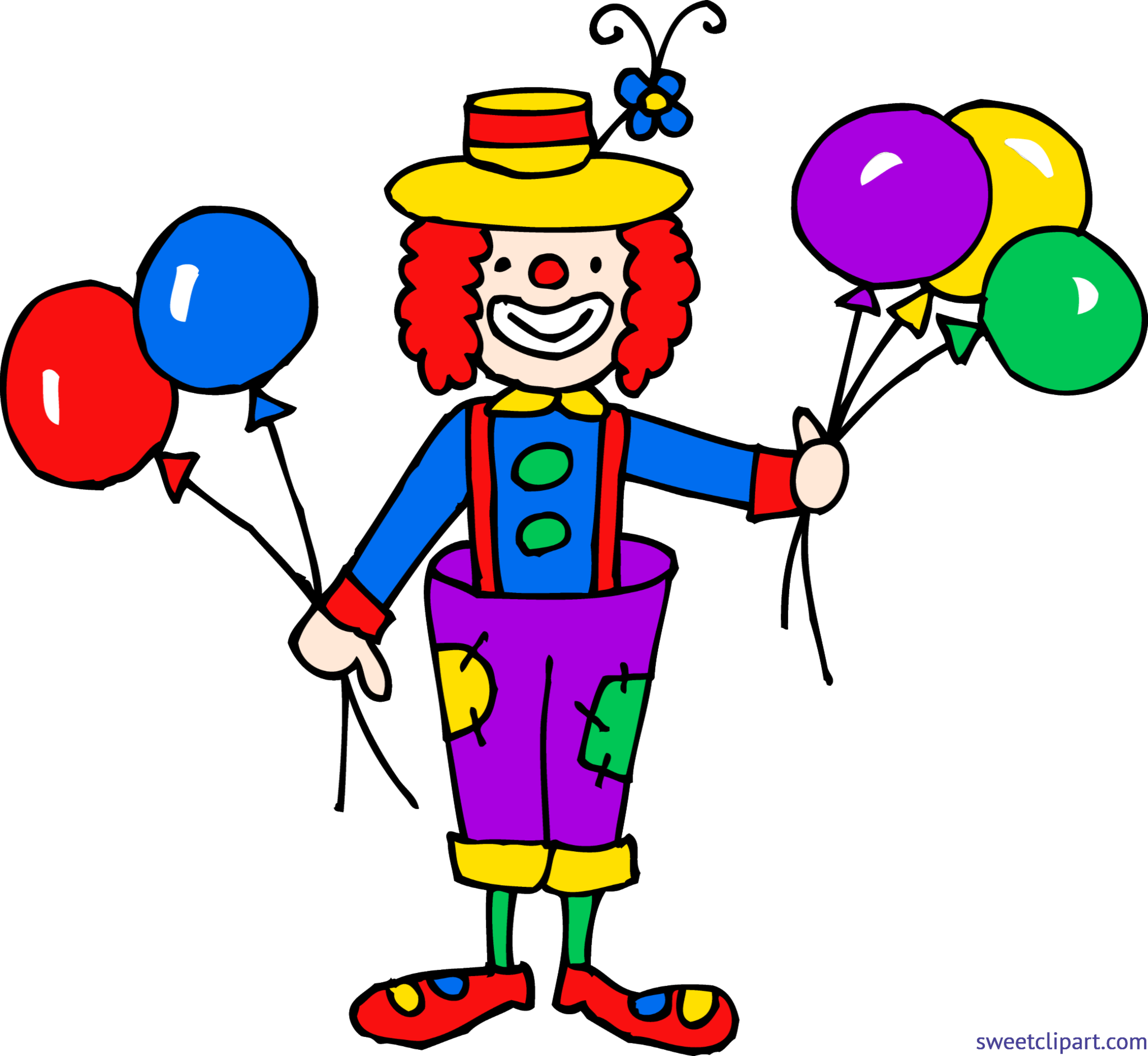 Cute with balloons clip. Clown clipart clip freeuse download