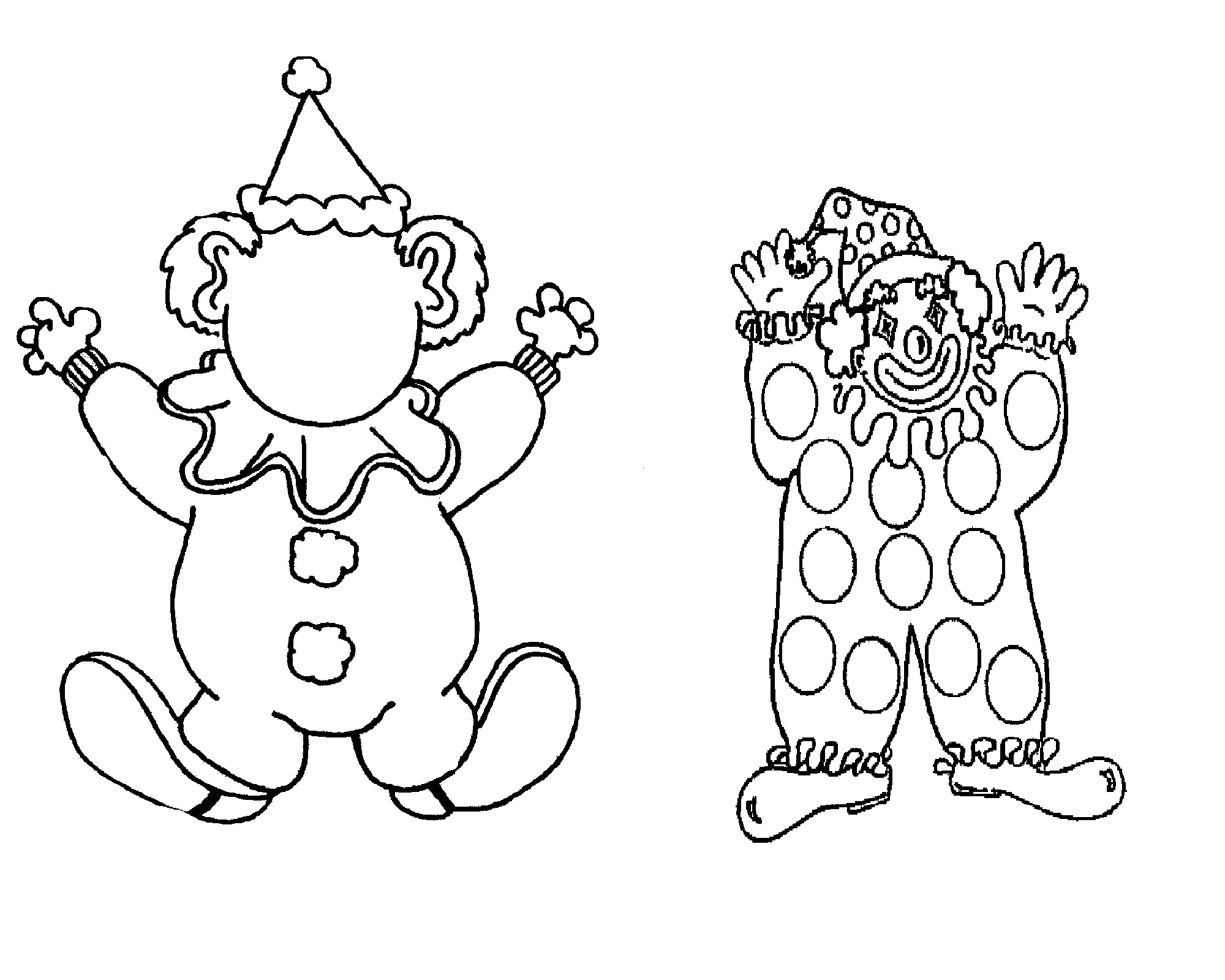 Clown clipart colouring page. Special pictures coloring unknown