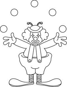Clown clipart colouring page. Circus printables clowns color