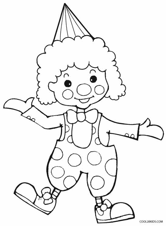Clown clipart colouring page. Printable coloring pages for