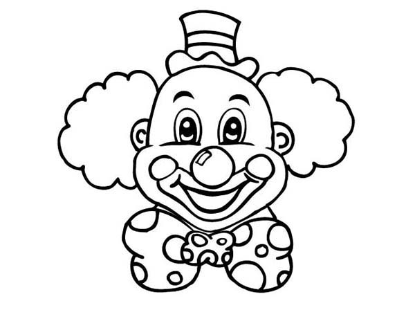 Clown clipart colouring page. A ordable pictures to