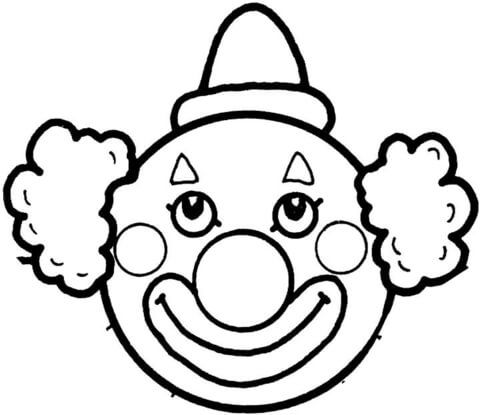 Clown clipart colouring page. Face template printable s