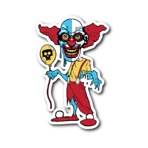 Ihorror sticker shop. Clown clipart evil jester jpg royalty free