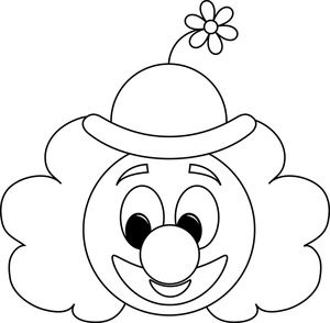 Coloring pages clip art. Clown clipart simple image black and white