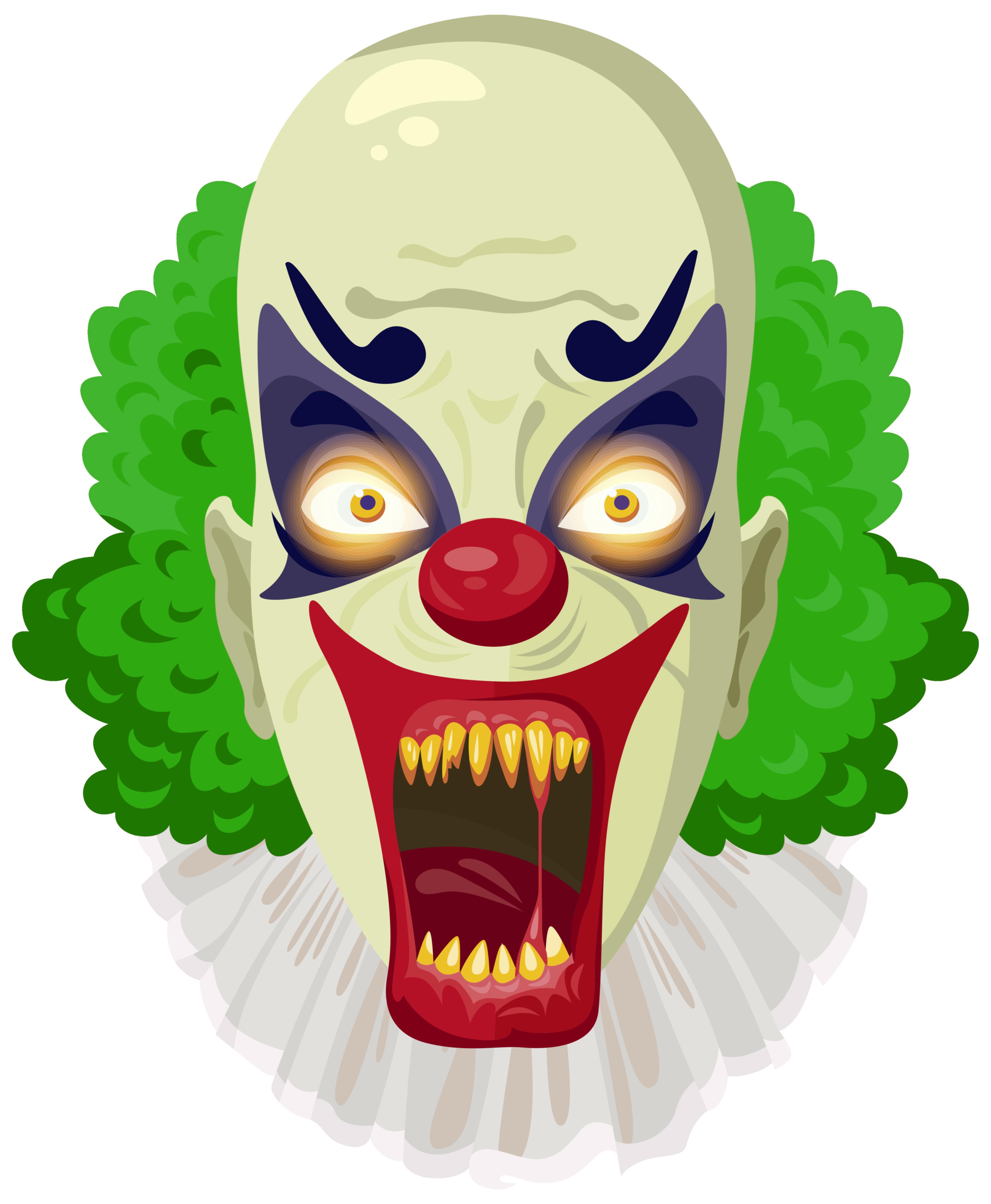 Clown head png. Scary green clipart image