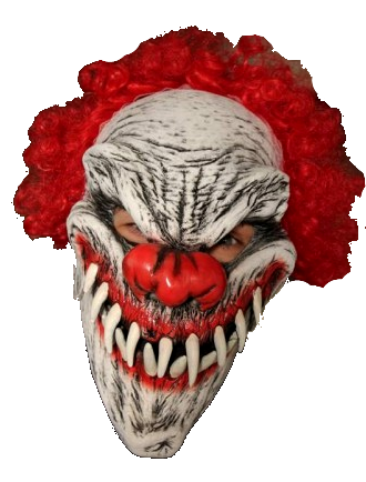 Clown head png. Curly the realistic mask