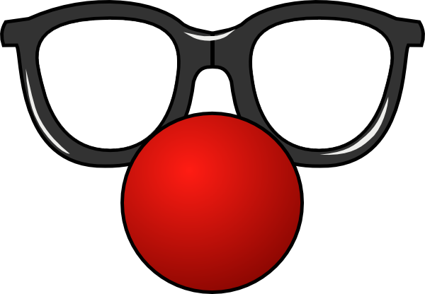 Clown nose png. Red black glasses by