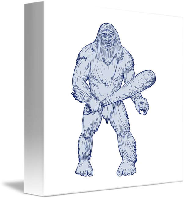 Club drawing sketch. Bigfoot holding standing by