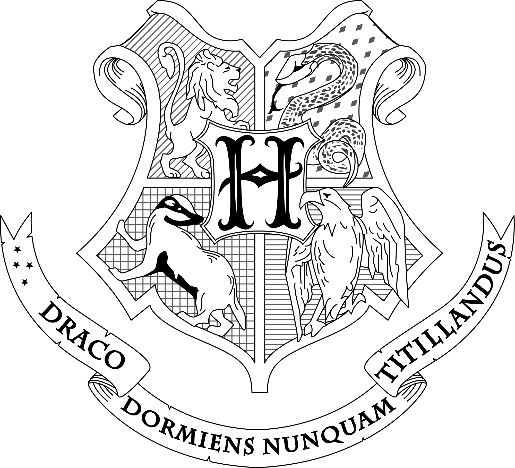 hogwarts crest black and white png