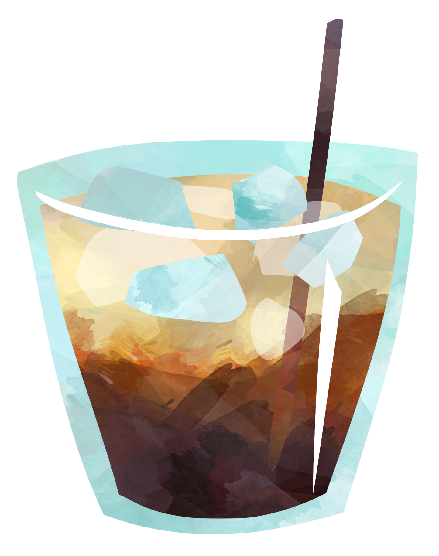 Cocktail with ice. In a low