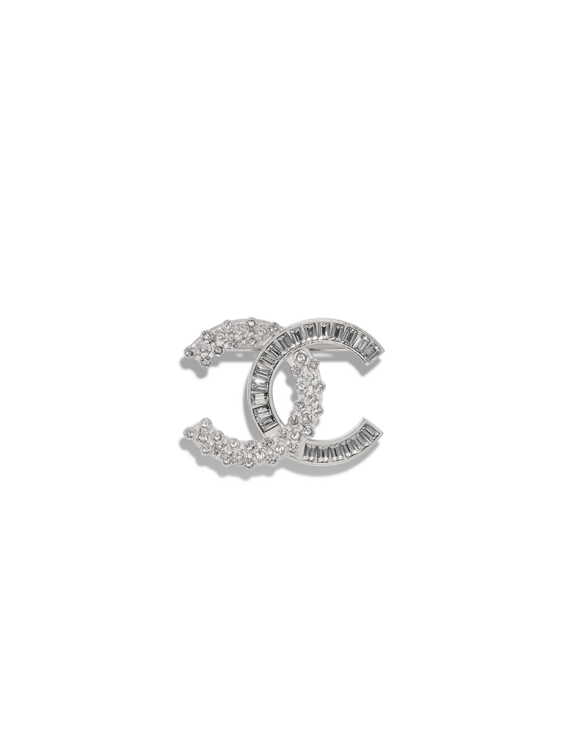 Coco chanel bling png. Brooch metal strass silver