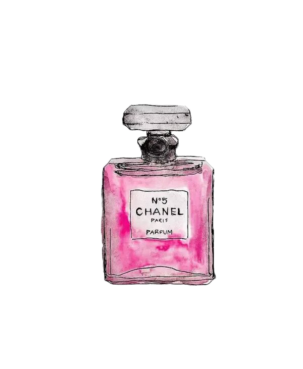 Chanel drawing coco mademoiselle. No perfume painted pink
