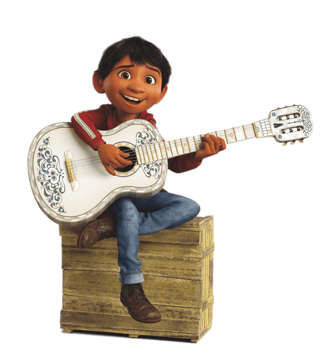 Miguel sitting on wooden. Coco png svg transparent download