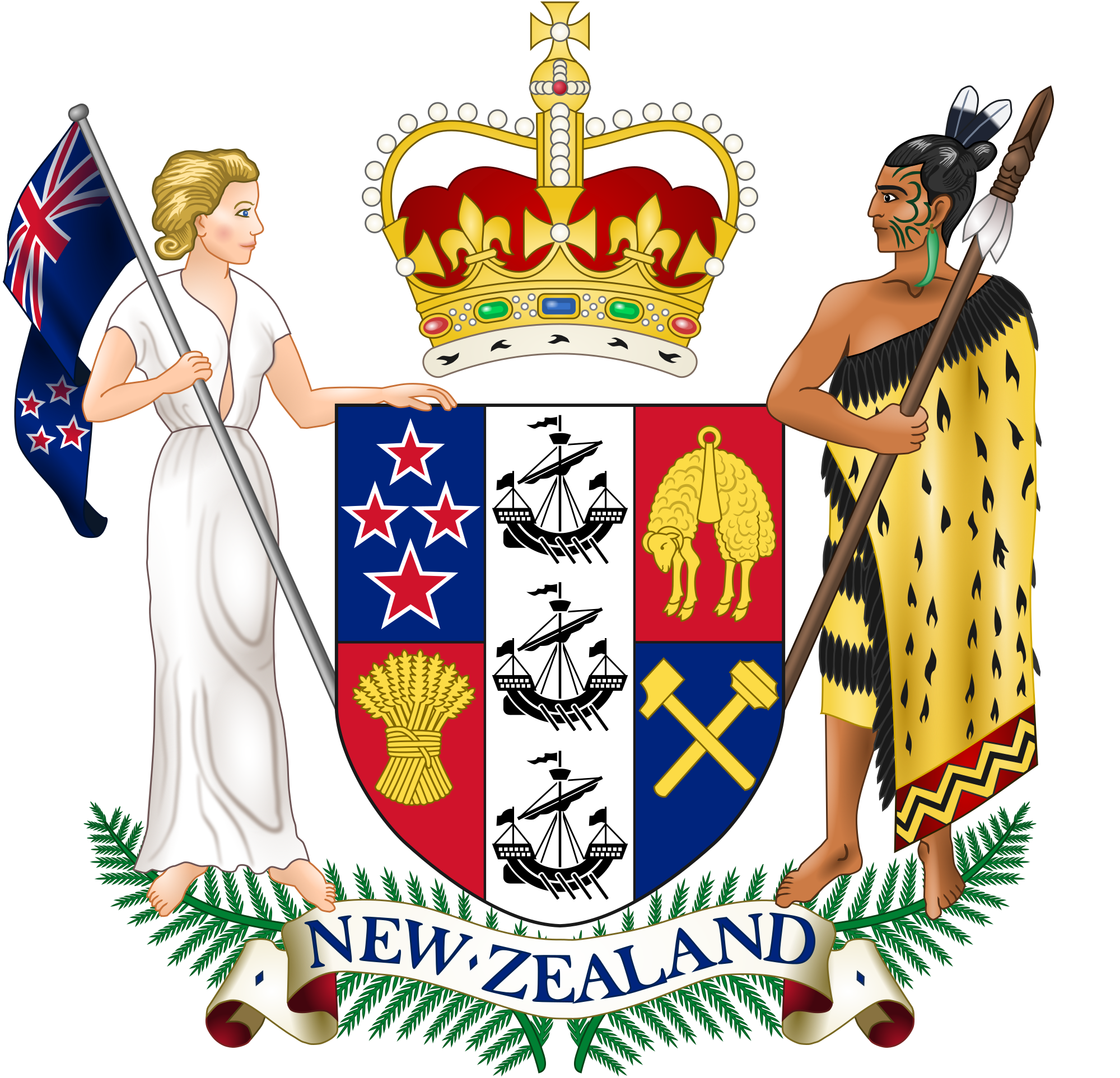 Code of arms png. File coat new zealand