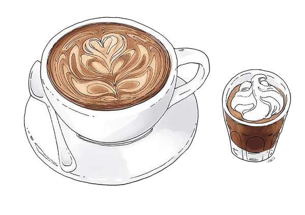 Coffe drawing. Collection of coffee