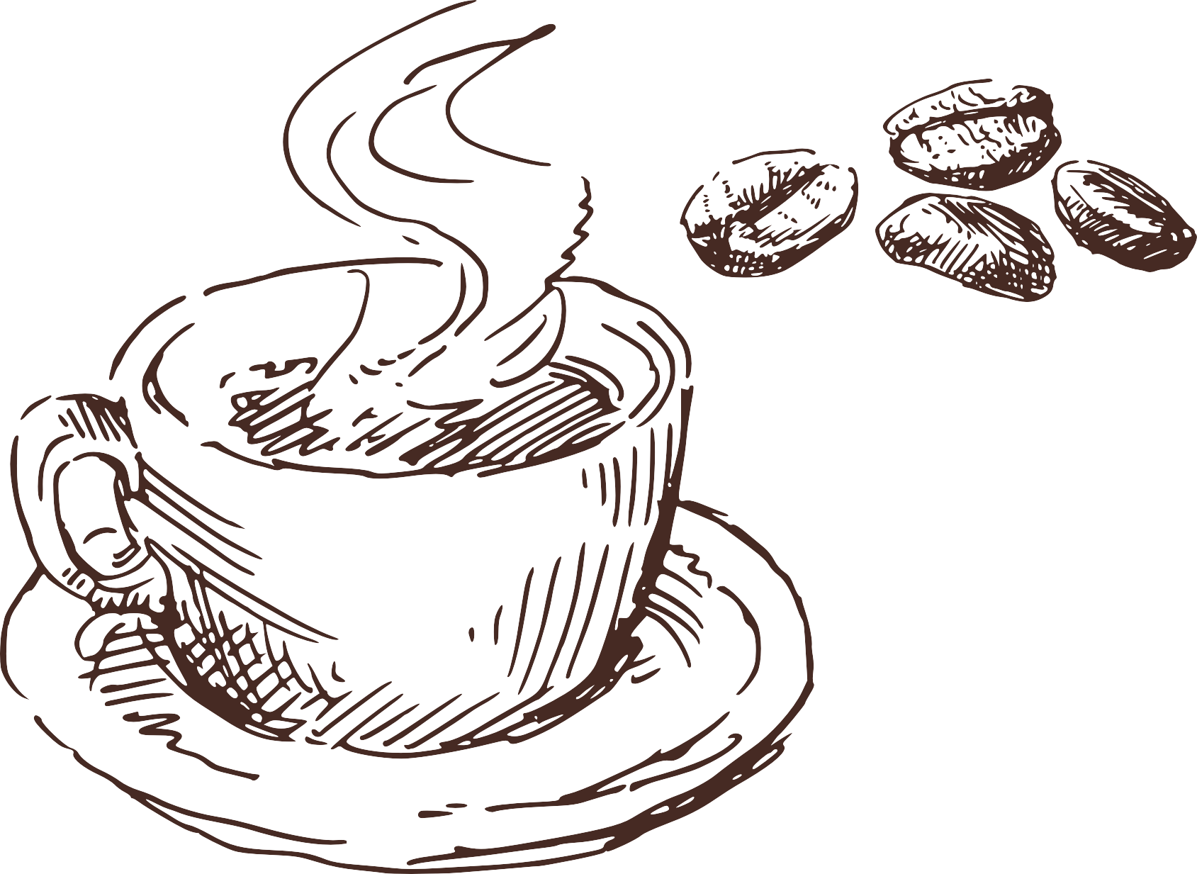 Coffe drawing black and white. Coffee cup cafe menu