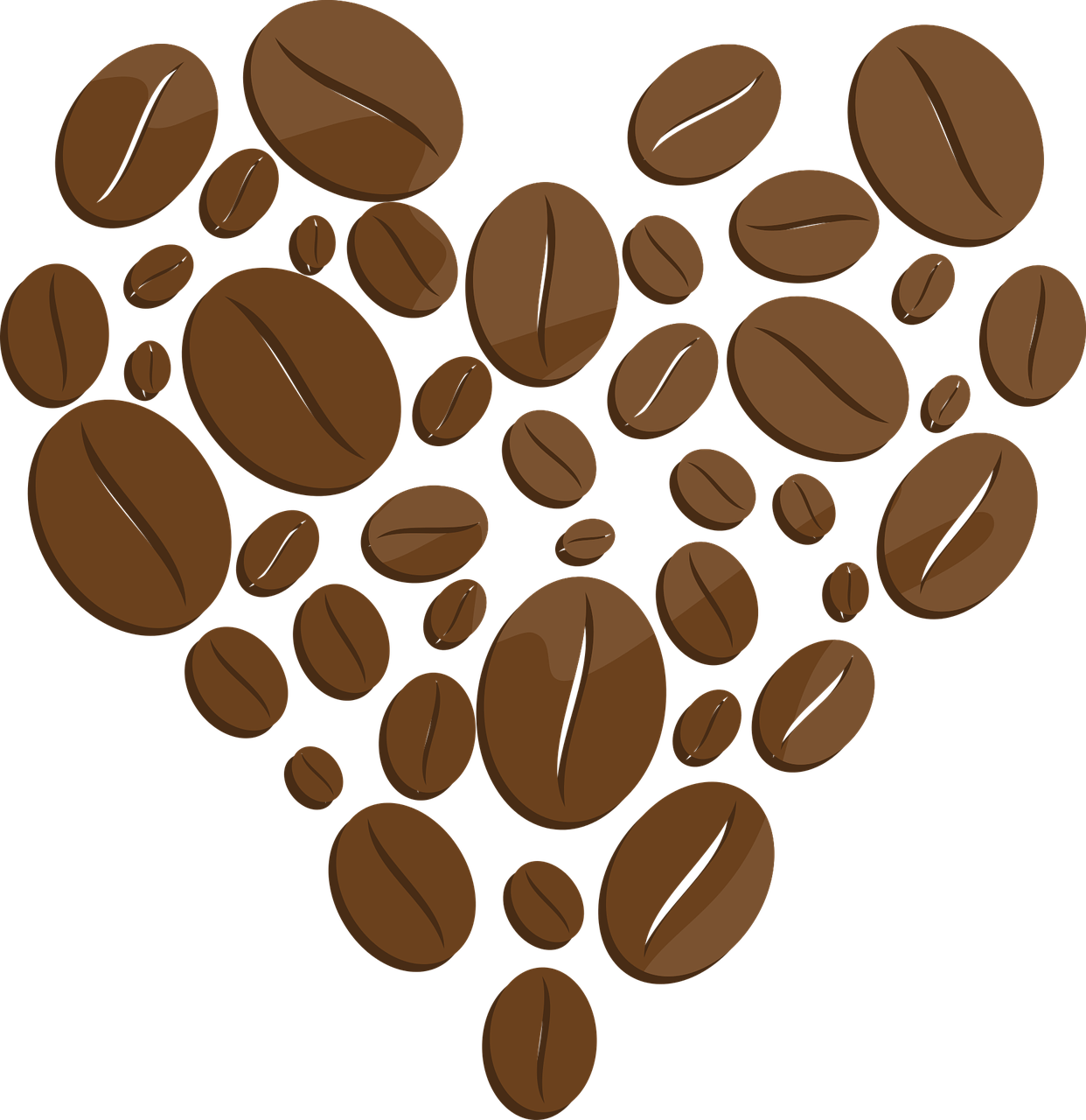 Coffe drawing coffee bean. Beans heart