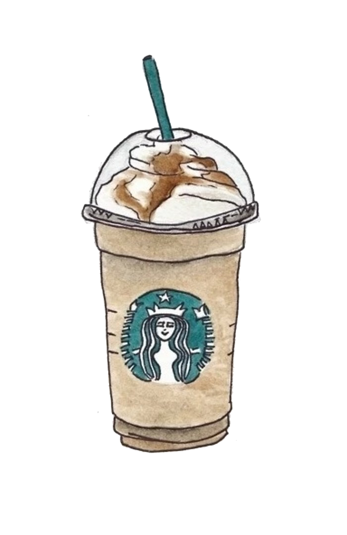 Drawing coffee iced. Starbucks cafe drink hand