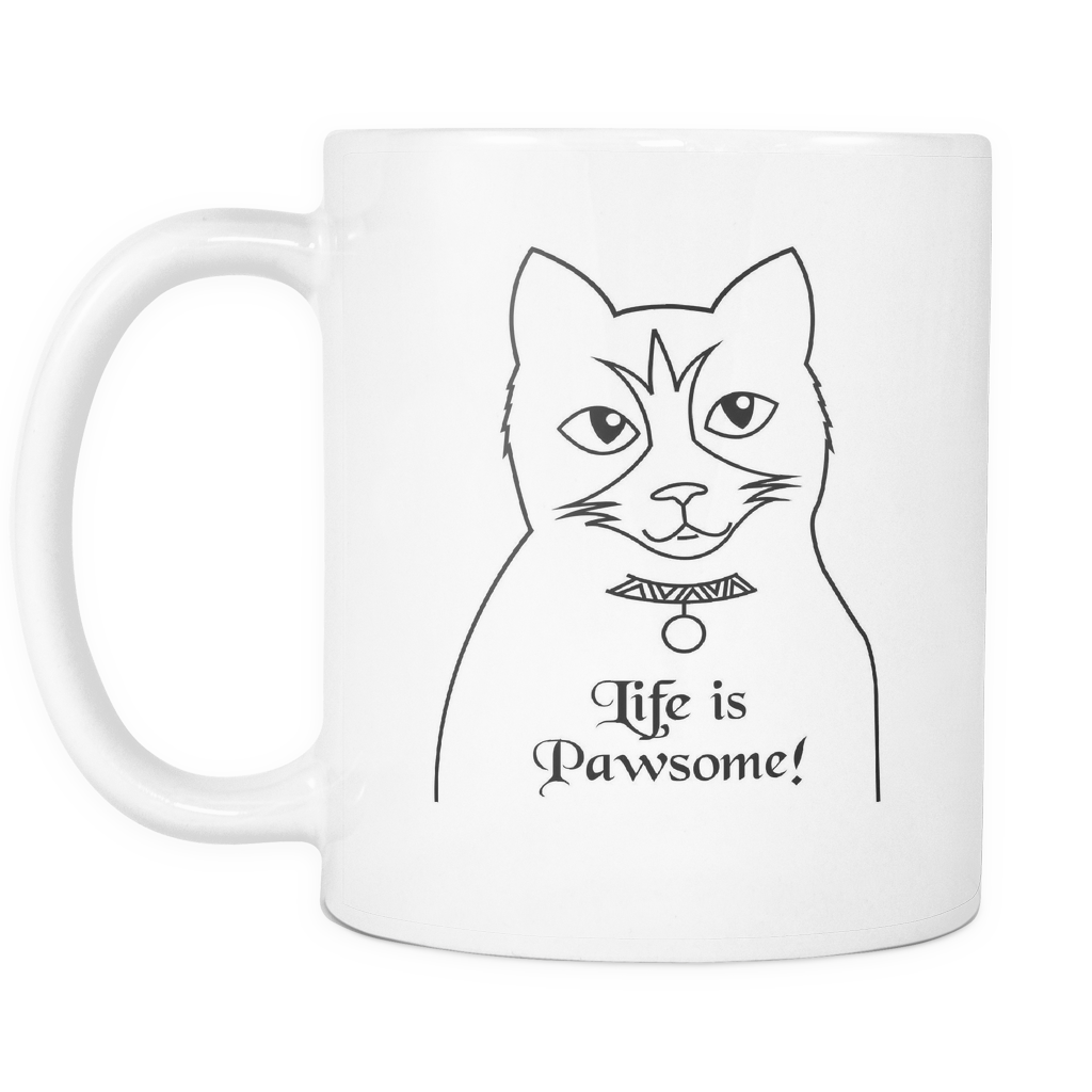 Coffe drawing pen. Coffee cat for