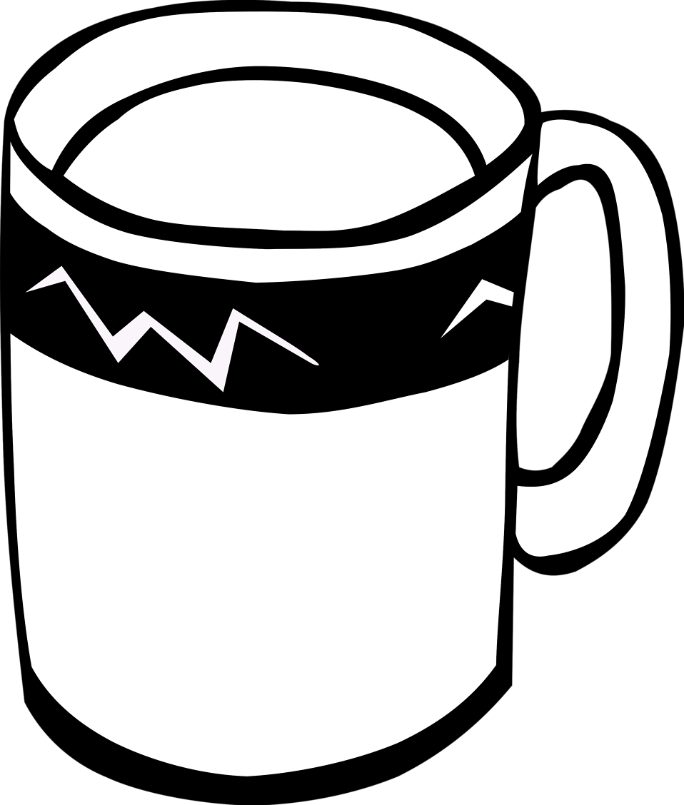 Coffe drawing stock. Mug free photo illustration