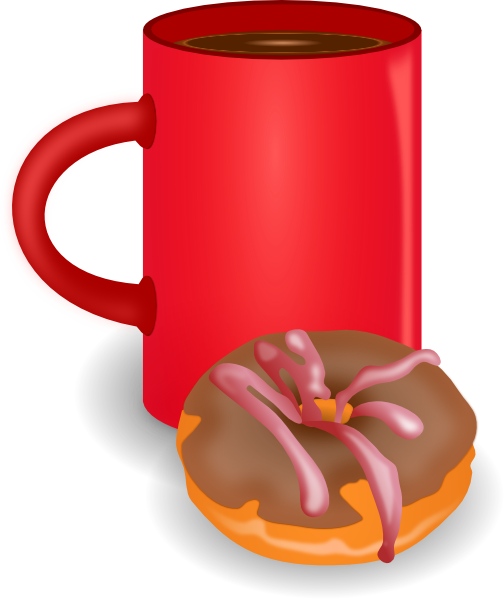 Coffee clip donut. And doughnut art at