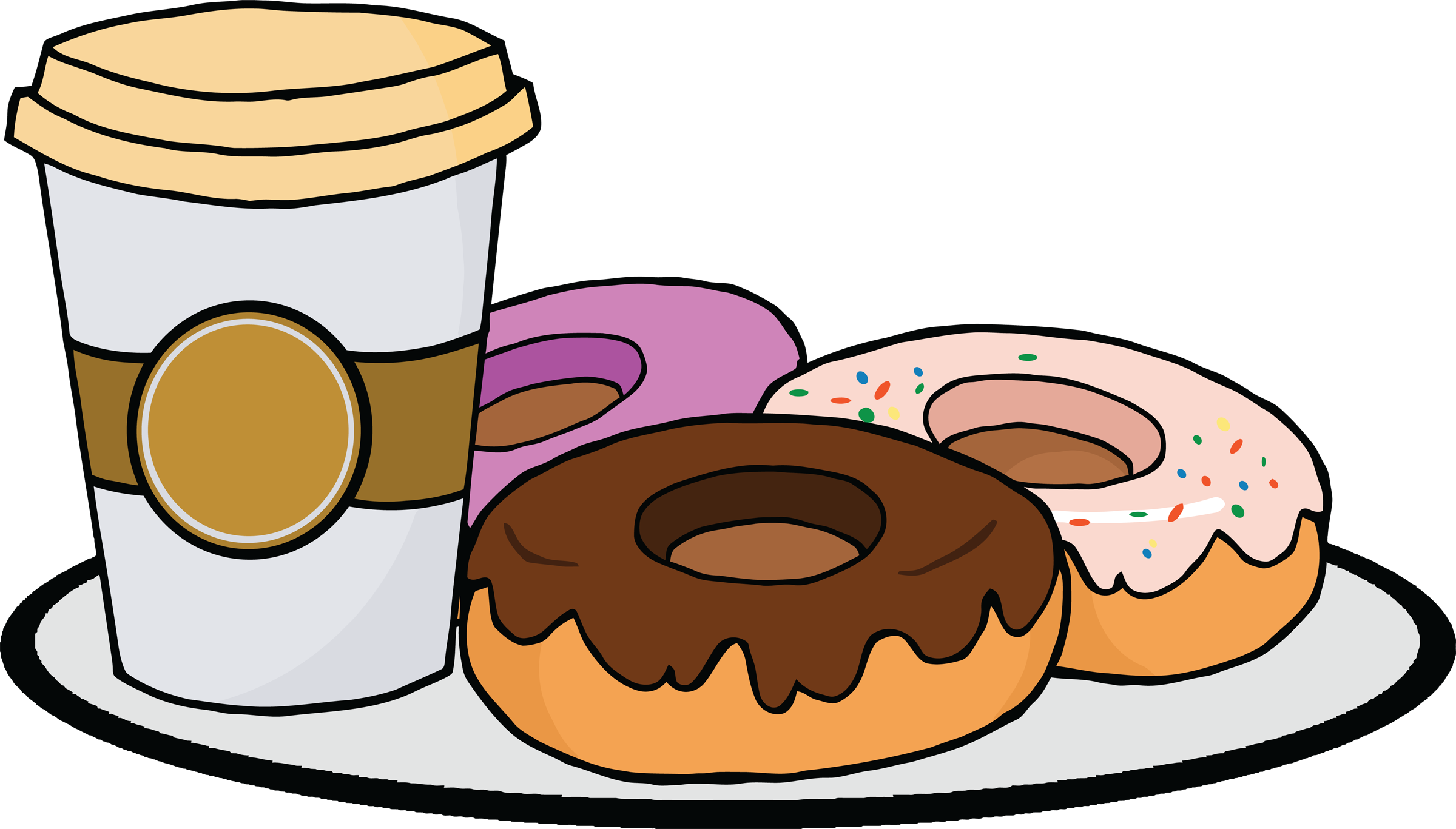 Coffee clip donut. Collection of and