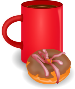 Coffee clip snack. And doughnut art at