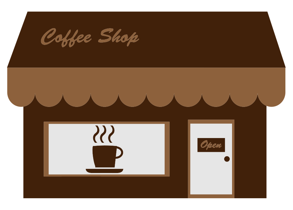 Coffee clip house. Onlinelabels art shop storefront