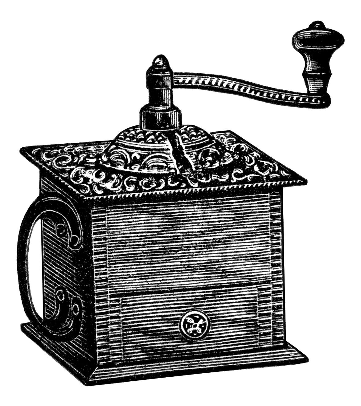 Coffee clipart vintage. Grinder black and white