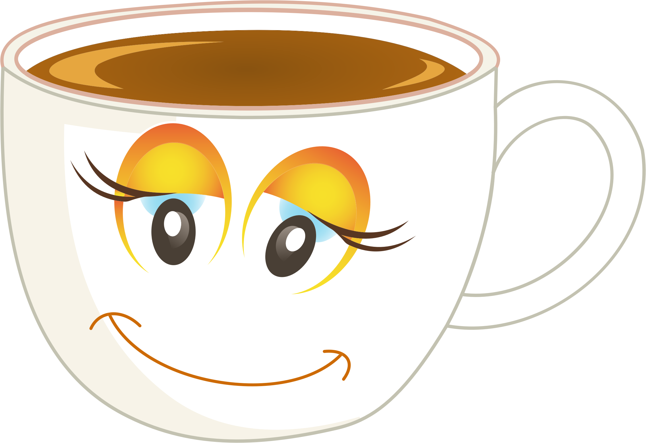 Coffee cup clipart happy. Anthropomorphic female of or