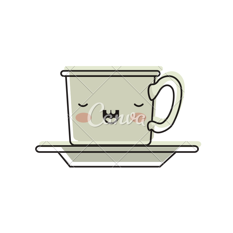 Coffee cup clipart watercolor. Kawaii on dish in