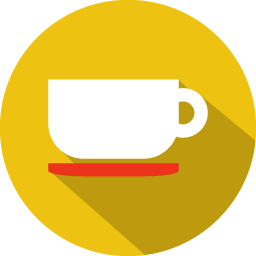 Coffee cup icon png. Colorful long shadow iconset