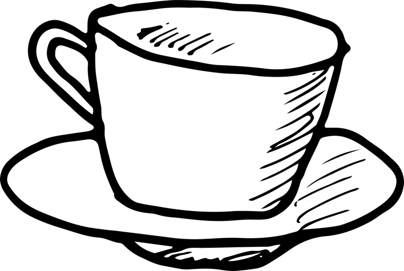 Drawing coffee outline. Cup and saucer rubber