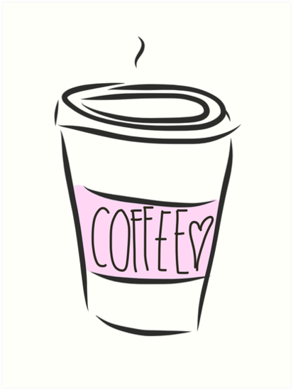 Coffee cup png cute. Art prints by rachelanna