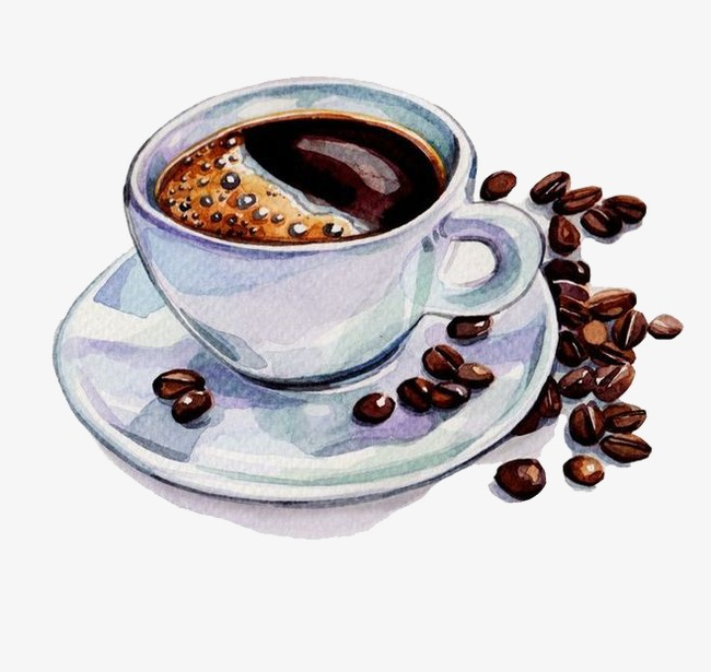 Coffee cup png watercolor. Hand painted and beans