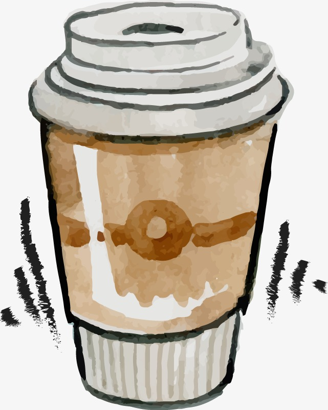 Coffee cup png watercolor. Hand painted vector handpainted