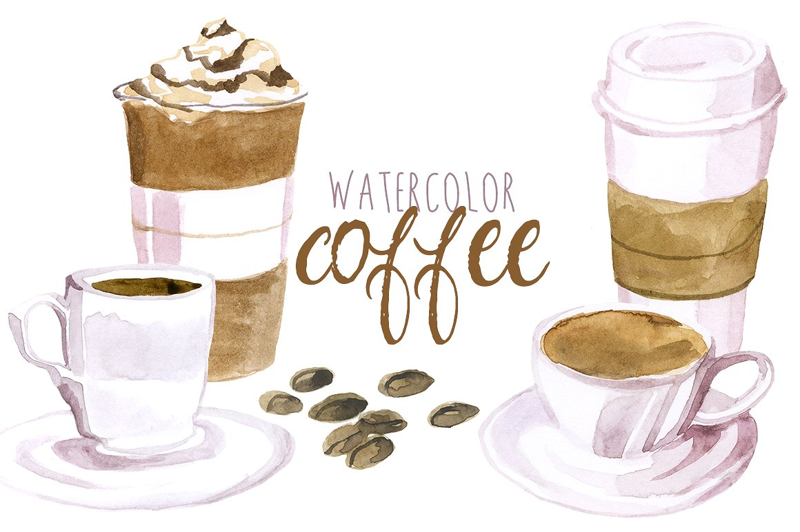 Coffee cup png watercolor. Illustrations creative market