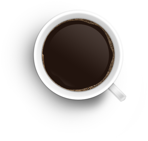Coffee cup png overhead. Top view image