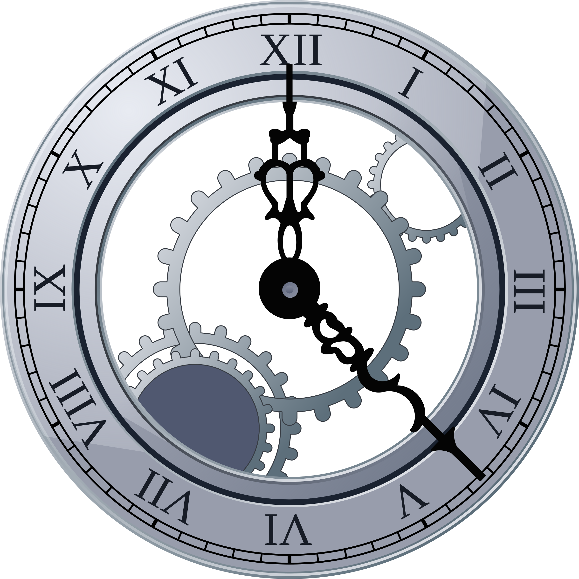 Cogs vector clock. Roman by miga fancy