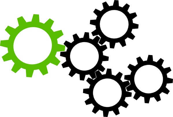 Cogs vector file. Green and black hi
