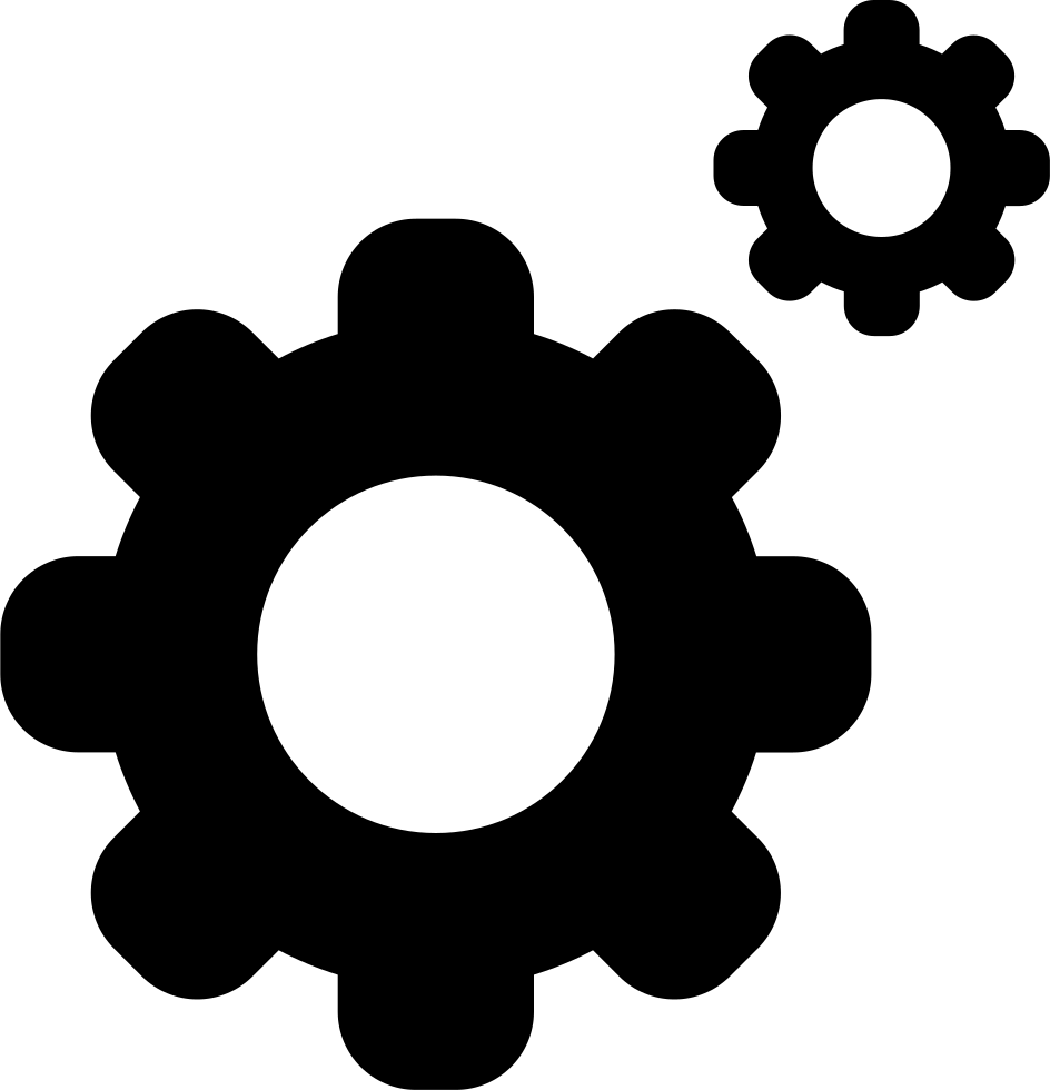 Cogs vector setting. On wheels interface symbol