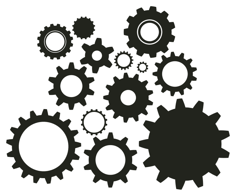Cogs vector silhouette. Gear stencil vbs gadgets
