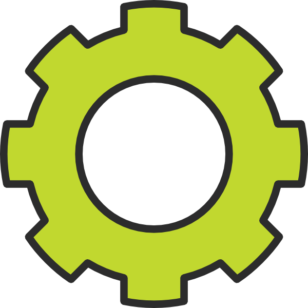 Cogs vector single. Gear green cog clip